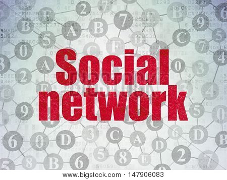 Social network concept: Painted red text Social Network on Digital Data Paper background with  Scheme Of Hexadecimal Code
