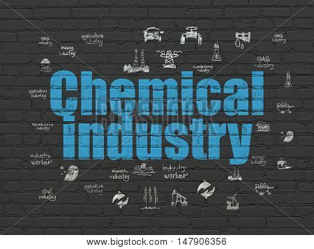 Industry concept: Painted blue text Chemical Industry on Black Brick wall background with  Hand Drawn Industry Icons