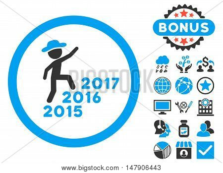 Gentleman Steps Years icon with bonus elements. Glyph illustration style is flat iconic bicolor symbols, blue and gray colors, white background.
