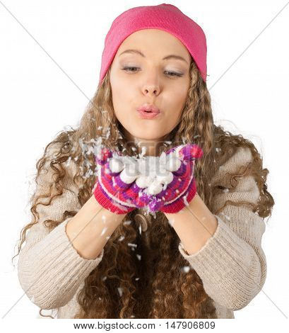 Young Woman Blowing Snow Close-up - Isolated