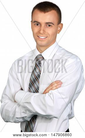 Smiling Young Businessman with Arms Folded - Isolated