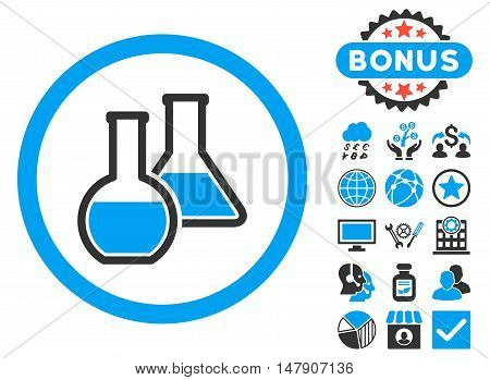 Glass Flasks icon with bonus images. Glyph illustration style is flat iconic bicolor symbols, blue and gray colors, white background.