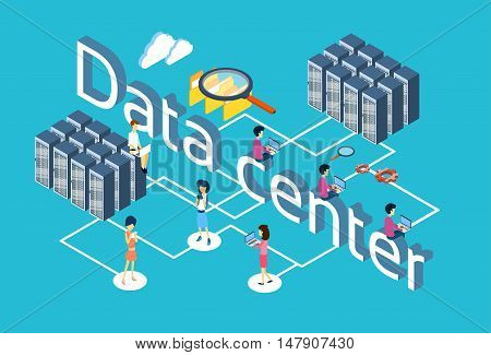 People Group Using Gadgets Database Server Search Data Center 3d Isometric Design Vector Illustration