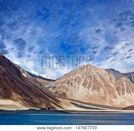Pangong Lake in Ladakh, Jammu and Kashmir, India. Pangong Tso is an endorheic lake in the Indian Himalayas situated at a height of about 4350 m.