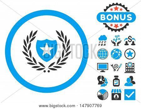 Glory Shield icon with bonus pictogram. Glyph illustration style is flat iconic bicolor symbols, blue and gray colors, white background.