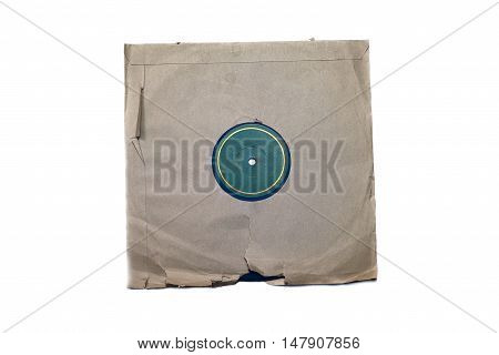 Old vinyl record in a paper case isolated on white background