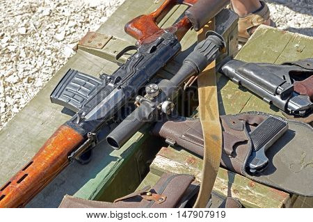 wooden box of ammunition with Russian weapon