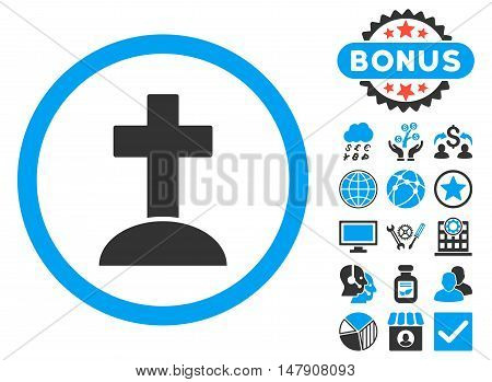 Grave icon with bonus pictogram. Glyph illustration style is flat iconic bicolor symbols, blue and gray colors, white background.