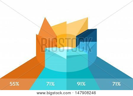 Pie Diagram With Percentage Financial Graph 3d Isometric Design Vector Illustration