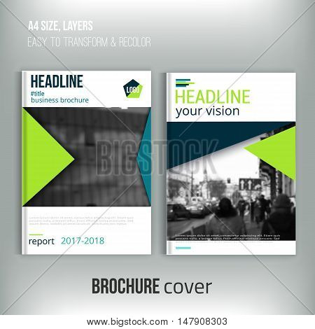 Clean brochure cover template with blured city landscape and triangular shapes. Blue Corporate identity. Business design, flyer, professional
