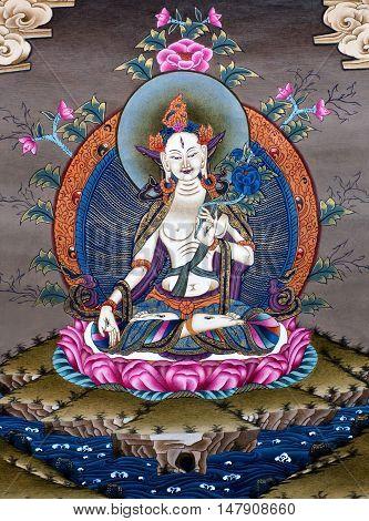 KATHMANDU, NEPAL - OCTOBER 5, 2011: Inner part of Tibetan thangka painting