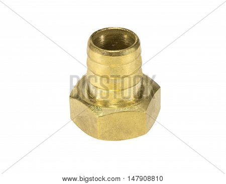 brass fitting for plumbing on the white background