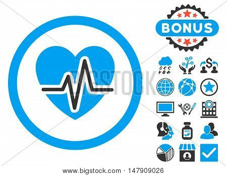 Heart Diagram icon with bonus design elements. Glyph illustration style is flat iconic bicolor symbols, blue and gray colors, white background.