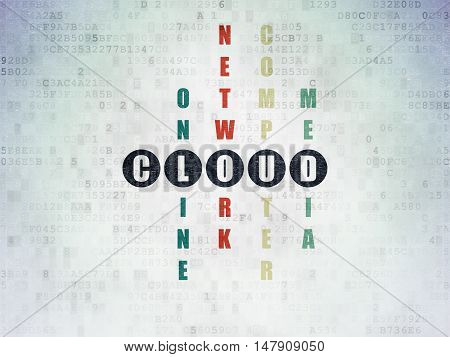 Cloud computing concept: Painted black word Cloud in solving Crossword Puzzle on Digital Data Paper background