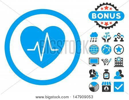 Heart Ekg icon with bonus elements. Glyph illustration style is flat iconic bicolor symbols, blue and gray colors, white background.