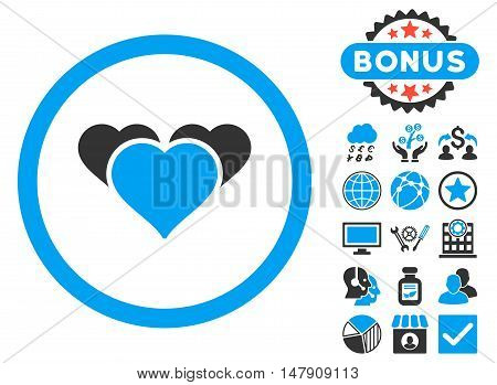 Heart Favourites icon with bonus pictogram. Glyph illustration style is flat iconic bicolor symbols, blue and gray colors, white background.