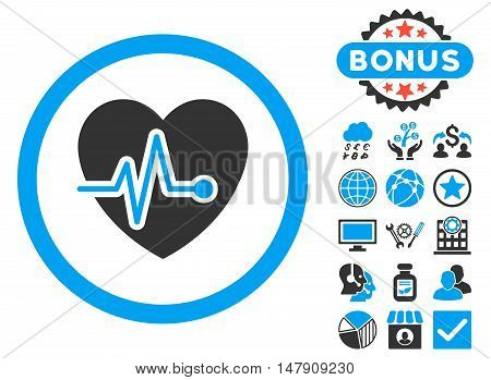 Heart Pulse icon with bonus pictogram. Glyph illustration style is flat iconic bicolor symbols, blue and gray colors, white background.