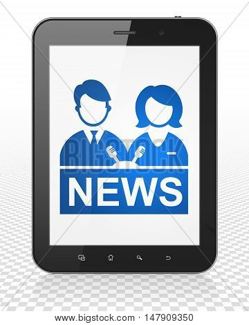 News concept: Tablet Pc Computer with blue Anchorman icon on display, 3D rendering