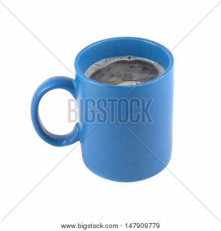 Blue cup with to black coffee isolated on white background closeup