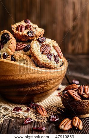 Oatmeal Cookies With Pecan Nuts, Cranberries And Honey