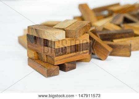 Collapsed Wood Blocks Stack Game, Background Concept