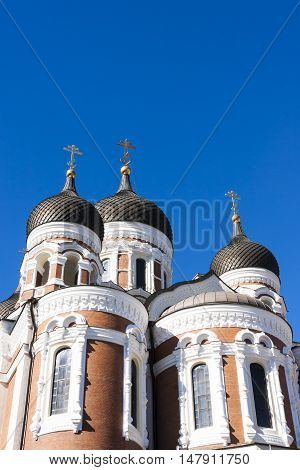 Towers of Aleksander Nevski catherdral in the old town of Tallinn Estonia