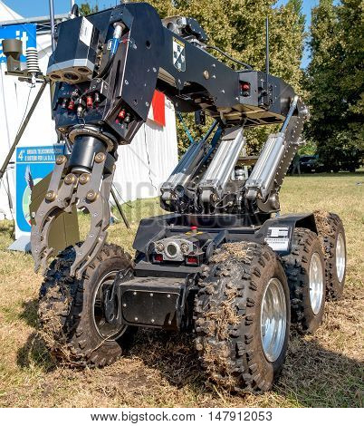 Ferrara Italy 16 September 2016 - a bomb disposal robot unit used by the Army to defuse bombs