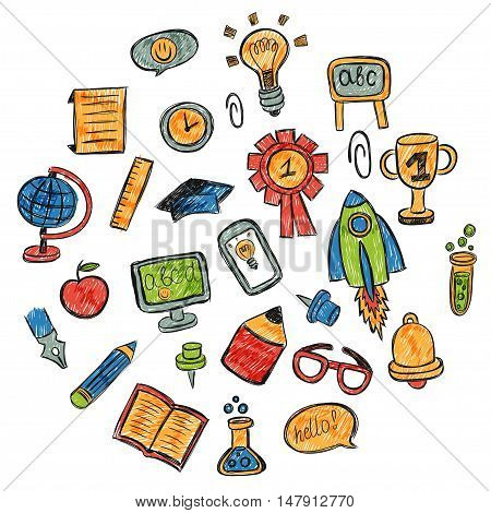 School and education vector hand drawn pictures