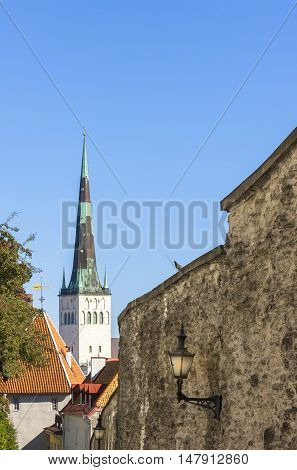 Tower of a tall St. Olaf church in the old town of Tallinn Estonia