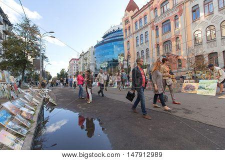 Kiev Ukraine - August 24 2016: Artists exhibit paintings for sale on the street Vladimir