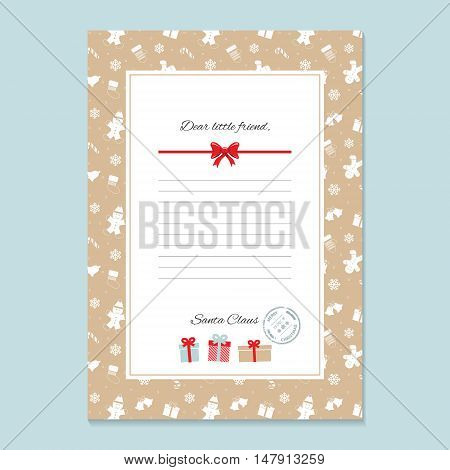 Christmas letter from Santa Claus template. layout in A4 size. Pattern with Gingerbread men and Mittens added in swatches.