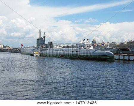 Submarine museum in Saint Petersburg. Landmark. Tourist attraction. The Neva river and view of St. Petersburg. Russia.