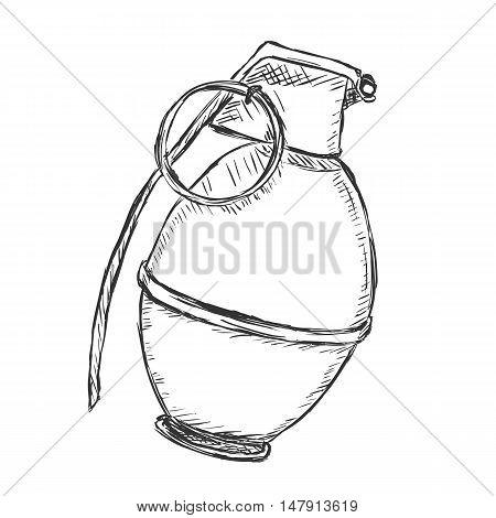 Vector Sketch Hand Grenade