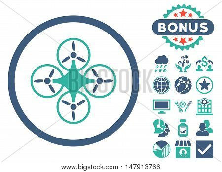 Air Drone icon with bonus elements. Glyph illustration style is flat iconic bicolor symbols, cobalt and cyan colors, white background.