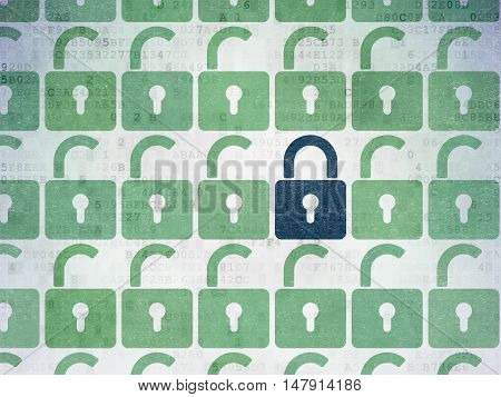 Protection concept: rows of Painted green opened padlock icons around blue closed padlock icon on Digital Data Paper background