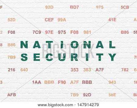 Safety concept: Painted green text National Security on White Brick wall background with Hexadecimal Code