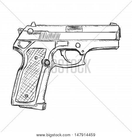 Vector Sketch Beretta Pistol