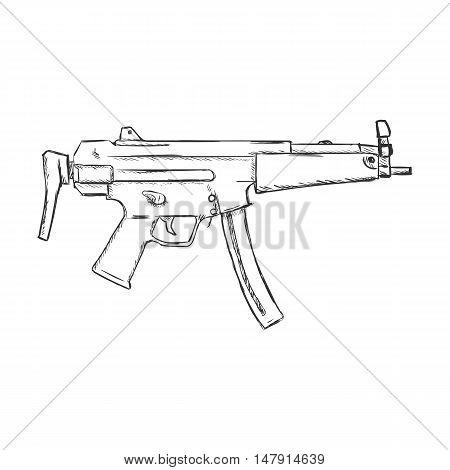 Vector Sketch Smg Machine Gun