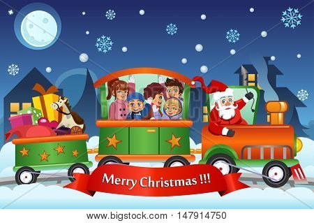 A vector illustration of Kids and Santa Claus on a train carrying Christmas presents