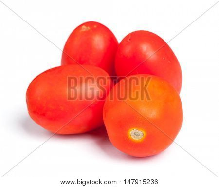 Few tomatoes isolated on white background