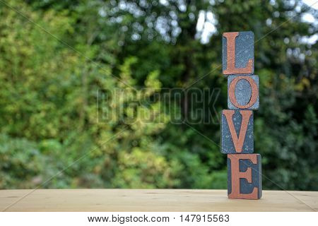 Blocks with Love lettering stacked high against natural background