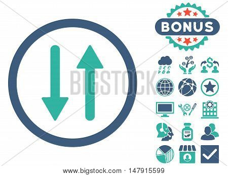 Arrows Exchange Vertical icon with bonus images. Glyph illustration style is flat iconic bicolor symbols, cobalt and cyan colors, white background.