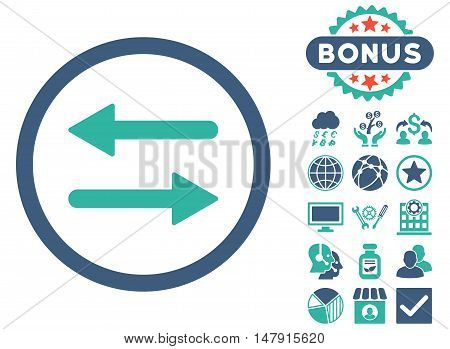 Arrows Exchange icon with bonus pictogram. Glyph illustration style is flat iconic bicolor symbols, cobalt and cyan colors, white background.