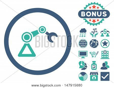 Artificial Manipulator icon with bonus design elements. Glyph illustration style is flat iconic bicolor symbols, cobalt and cyan colors, white background.