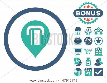 Atm Map Marker icon with bonus pictogram. Glyph illustration style is flat iconic bicolor symbols, cobalt and cyan colors, white background.