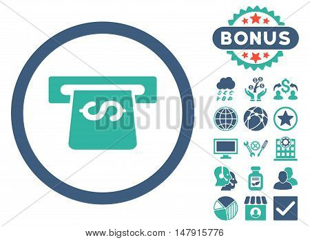 Atm icon with bonus images. Glyph illustration style is flat iconic bicolor symbols, cobalt and cyan colors, white background.