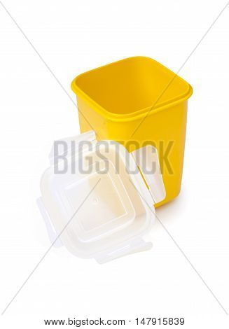 Plastic food container isolated on white background with clipping path