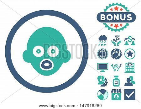 Baby Head icon with bonus symbols. Glyph illustration style is flat iconic bicolor symbols, cobalt and cyan colors, white background.