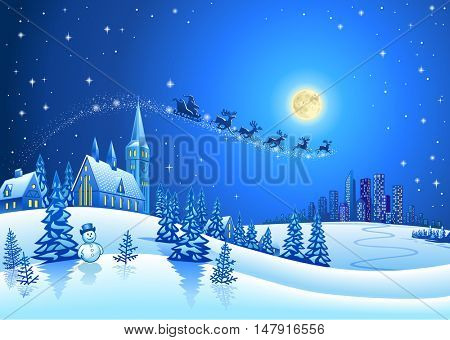 Christmas Winter Landscape with Santa Flying