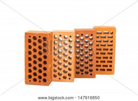 bricks construction, block isolated on white background